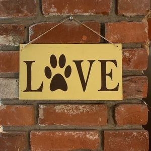 """Hand painted wooden sign, """"Love"""" with paw print"""